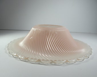 Pink glass shade etsy lovely antique frosted pink glass swirl ceiling light shade center hole lamp shade heavy mozeypictures Image collections