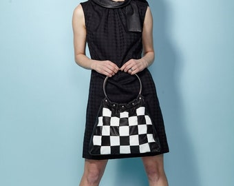 1960's Inspired ~The Mod Tote ~Black and White Leather Checkerboard