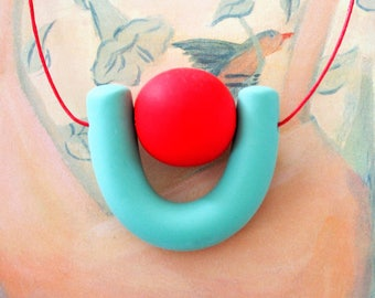 Handmade Polymer Clay Necklace - El Salvador Collection - Red Bead U
