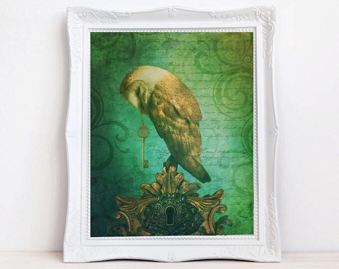 vintage style whimsical owl with key fantasy art print