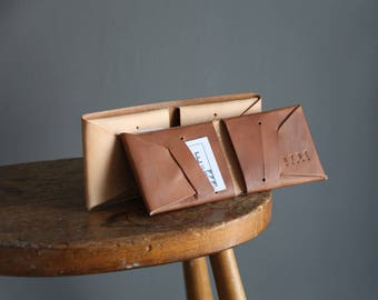 Stitchless Leather bifold wallet, handmade from vegetable tanned leather