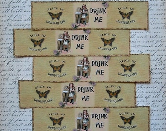 5 Water Bottle or Candy Bar LABELS- Alice in Wonderland Drink Me for Party bottles Alice in Wonderland Party decorations water bottle labels