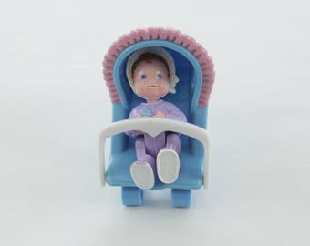 Vintage Fisher Price Dream Dollhouse Baby Girl with Blue Bouncy Seat