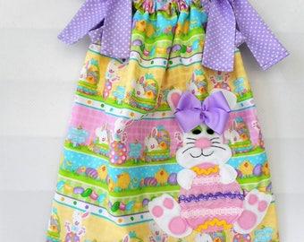 Girls Easter Bunny Dress Easter Dress Pillowcase Dress Toddler Girls Bunny Dress Handmade Dress