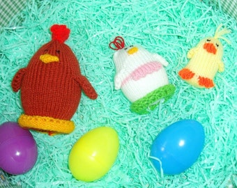 Nesting Chicken Egglet Family  (Includes Papa Rooster, Mother Hen, and Baby Chick.)