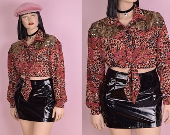 80s Paisley and Leopard Print Tie Up Cropped Top/ Large/ 1980s/ Long Sleeve/ Button Down