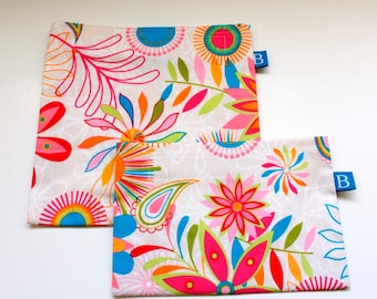 Reuseable Eco-Friendly Set of Snack and Sandwich Bags in Cream Floral Fabric