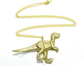 Gold Carnivore Dinosaur Necklace - Choose Your Dino! - T-Rex, Velociraptor, or Pterodactyl - Paleontologist Chic