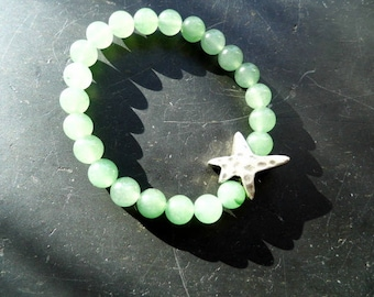 Bracelet, calcite, green, star, women, jewelry