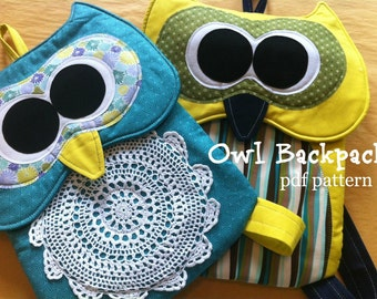 Owl Backpack Pattern -INSTANT Download PDF Pattern
