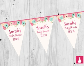 PERSONALISED Pink Floral Baby Shower, Girl, Bunting, Banner. - 3 METERS