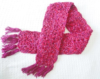 Women's Raspberry Pink Crocheted Scarf with Fringe Spring Flowers By Distinctly Daisy