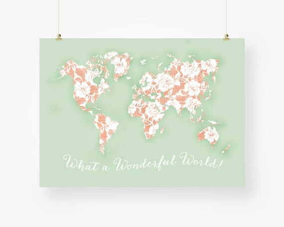 World map mint and peach nursery jpg pdf poster large girls world map mint and peach nursery jpg pdf poster large girls room decor floral shabby chic gift for her travel quote download gumiabroncs Image collections