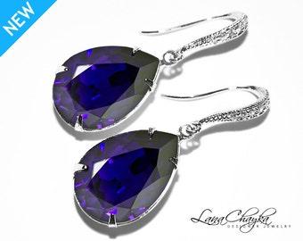 Violet Crystal Earrings Swarovski Purple Velvet Teardrop Earrings Wedding Grape Purple Rhinestone Earrings Prom Crystal Earrings Bridal