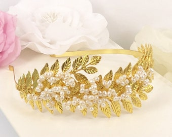 Eden Garden - Vintage Style Golden Leaves and Freshwater Pearl  Head Band Tiara