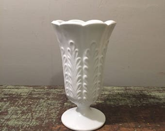 Milk Glass White Vase - E. O. Brody Co. Art Deco Glass Vase - Mid Century Pedestal Milk Glass Vase