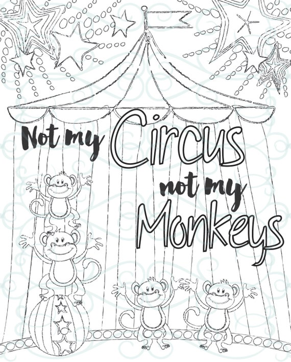 Adult Inspirational Coloring Page printable 14Not My Monkeys