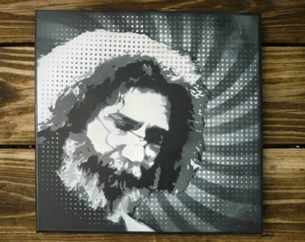"Jerry Garcia, Jerry Garcia graffiti, Jerry Garcia Painting, Jerry Garcia art, 12""x 12"" painting on canvas, original painting by Jburgess"