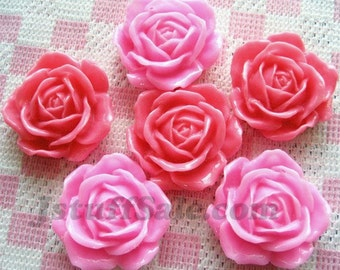 Pink rose cabochons 6 pieces 31mm (A240)