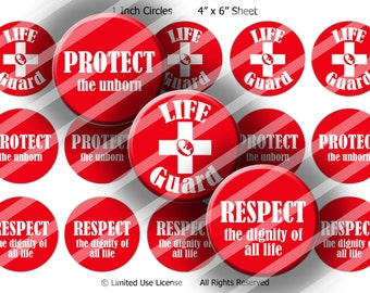 "Digital Bottle Cap Collage Sheet - Pro-Life Lifeguard - 1"" Digital Bottle Cap Images"