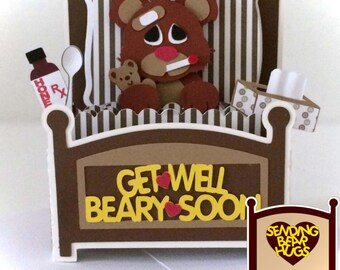 Get Well Bear Card In A Box 3D SVG