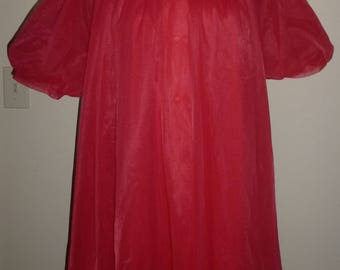 Vintage 50s 1950s Shadowline Red Baby Doll Nightie & Peignoir Double Layer Nylon Wide Sweep  M Med Medium