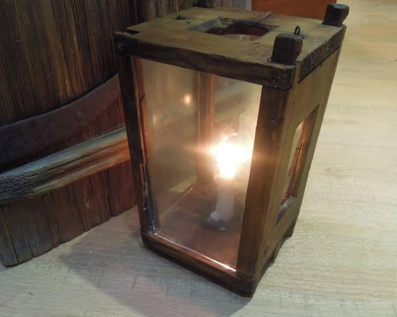 Antique wood barn lantern • vintage glass lantern with candle from russian north 1800 old rustic lamp hanging farmhouse country decor from tanwoodstudio on