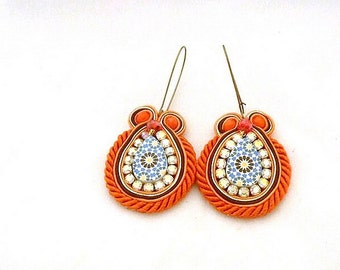 orange bronze boho dangle drop soutache earrings with Moroccan pattern replica tile  , Mediterranean Spanish wedding inspired , Alhambra