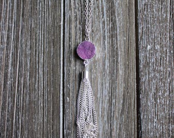 Purple Druzy Silver Tassel Necklace