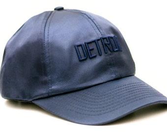 navy satin Detroit snapback hat