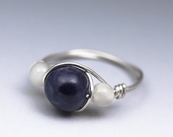 Sapphire & White Moonstone Gemstone Sterling Silver Wire Wrapped Bead Ring - Made to Order, Ships Fast!