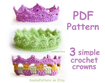 3 SIMPLE crochet Baby Crowns Pattern - PROMO price