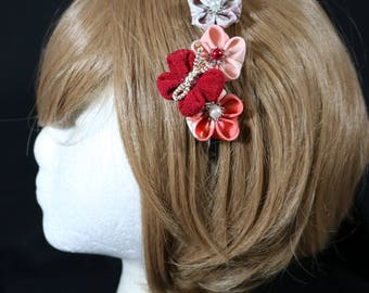 Cute 3x Tsumami Kanzashi Flowes & Butterfly head band