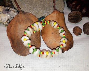 Bracelet rasta cowrie shell