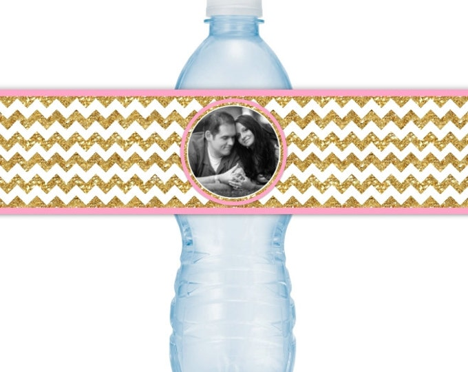 Wedding Photo Water Bottle Labels - CUSTOM Printable Gold Chevron Water Bottle Labels, YOU print, you cut, DIY water bottle labels