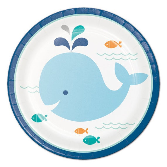 sc 1 st  Etsy & Sweet Whale Small Paper Plates/ Baby Boy Whale Baby Shower