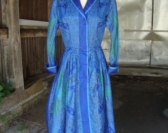 Vintage 1950's 1960's Blue Silk Print Full Skirt Shirt Dress * Extra Small