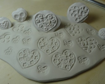5 Heart Pottery Texture Clay Stamps Set #123