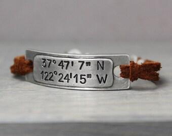 Coordinate Bracelet, Leather Bracelet, Leather Coordinate Bracelet, Latitude Longitude Bracelet, Boho Bracelet, Hand Stamped Bracelet,