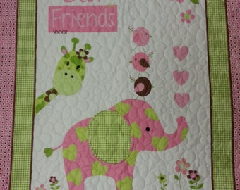 Pink Elephant Baby Quilted Blanket, Giraffe Baby Quilted Blanket, Baby Girl Blanket