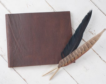 Personalized Leather Guest Book - Rustic Brown Leather & other leather colors - by ClaireMagnolia