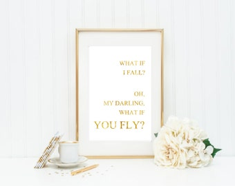 What If I Fall  , Peter Pan VI Gold Foil Print Black Print Gold Wall Art Hot Foiled Metallic Rose Gold Mural Prints Vintage Foil Quote
