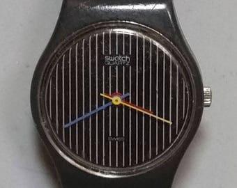 LA100 Miss Channel - Miss Pinstripe 1984 Vintage Swatch Watch