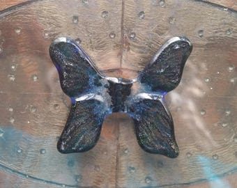 "Cabochon 1-7/8"" Butterfly Moth Handmade Textured Tile Black Green Blue Art Glass 2017 Original Design Butterflies and Moths Series"