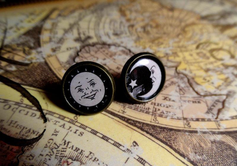 Sunmoon Ouija Board Symbols 12mm Bronze Stud Earrings