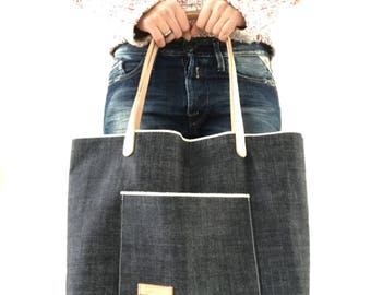 14.5 OZ Japanese raw denim tote bag, selvedge denim tote bag, unwashed raw denim, unisex