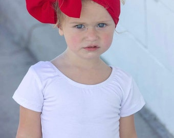 Red knit big bow headwrap