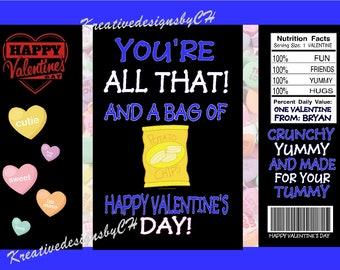 PRINTED Valentine Chip Bags Blue
