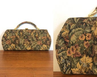Vintage 50s Tapestry Purse / Vintage Tapestry Handbag / Needlepoint Purse