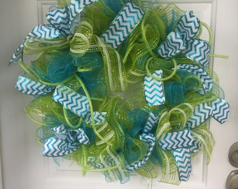 Spring Mesh and Ribbon Wreath